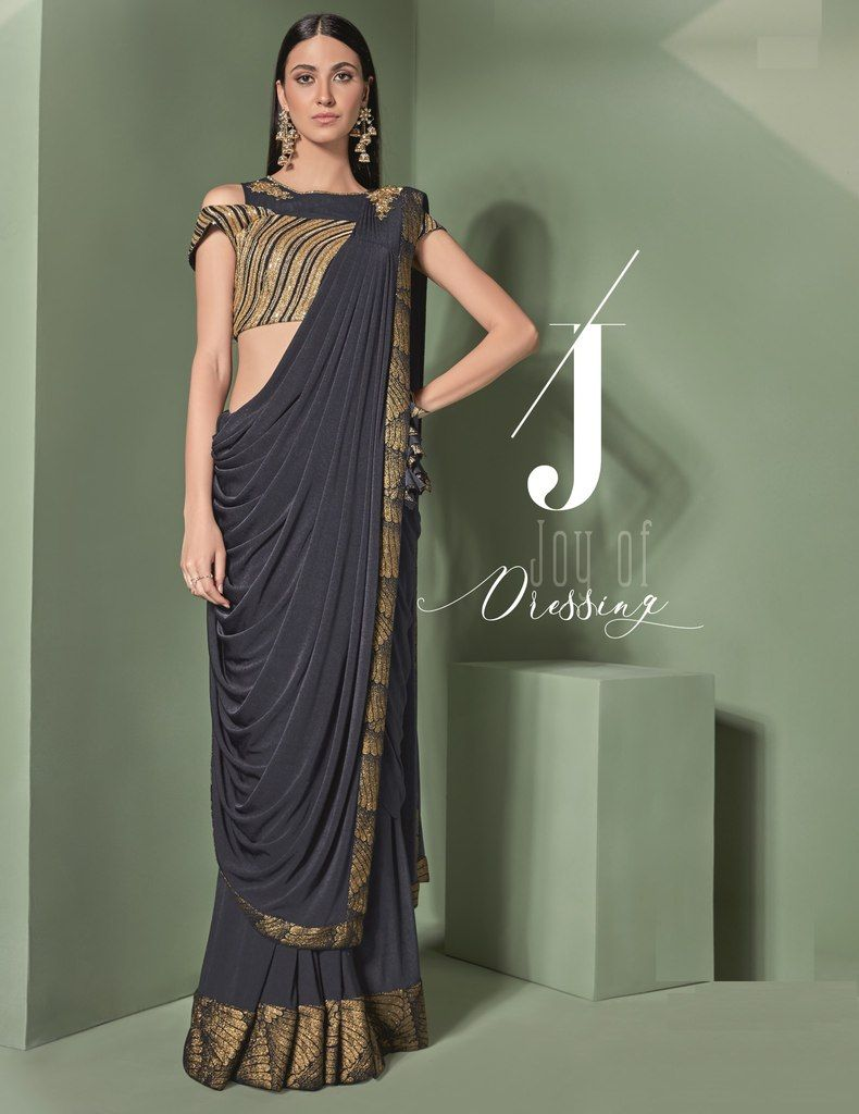 Blue Color Lycra Designer Ready To Wear Sarees : Sadhik Collection  NYF-1750 - YellowFashion.in