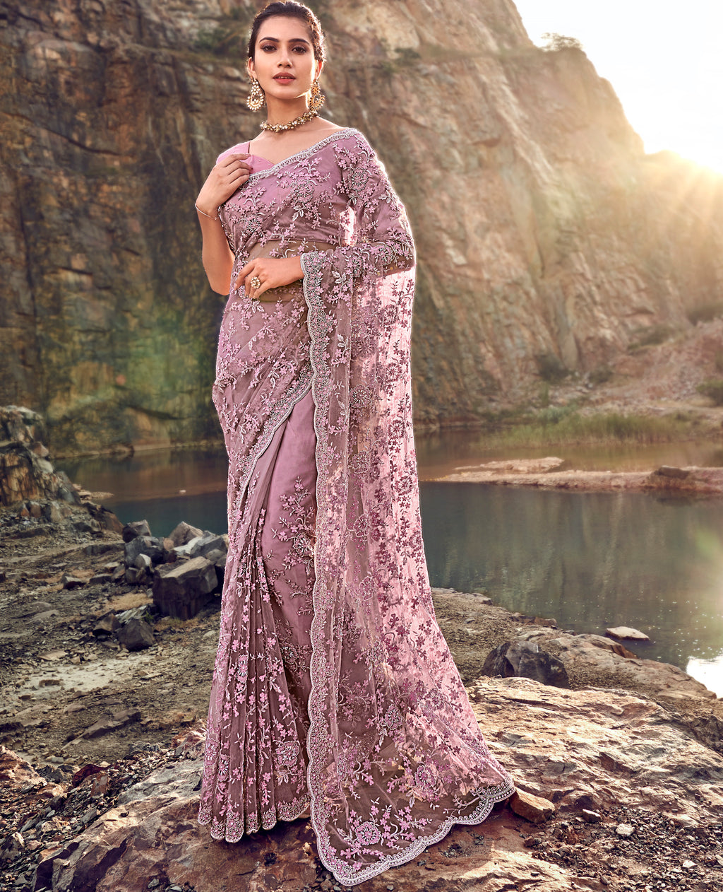 Lavender Color Fancy Net Beautiful Designer Sarees NYF-5372