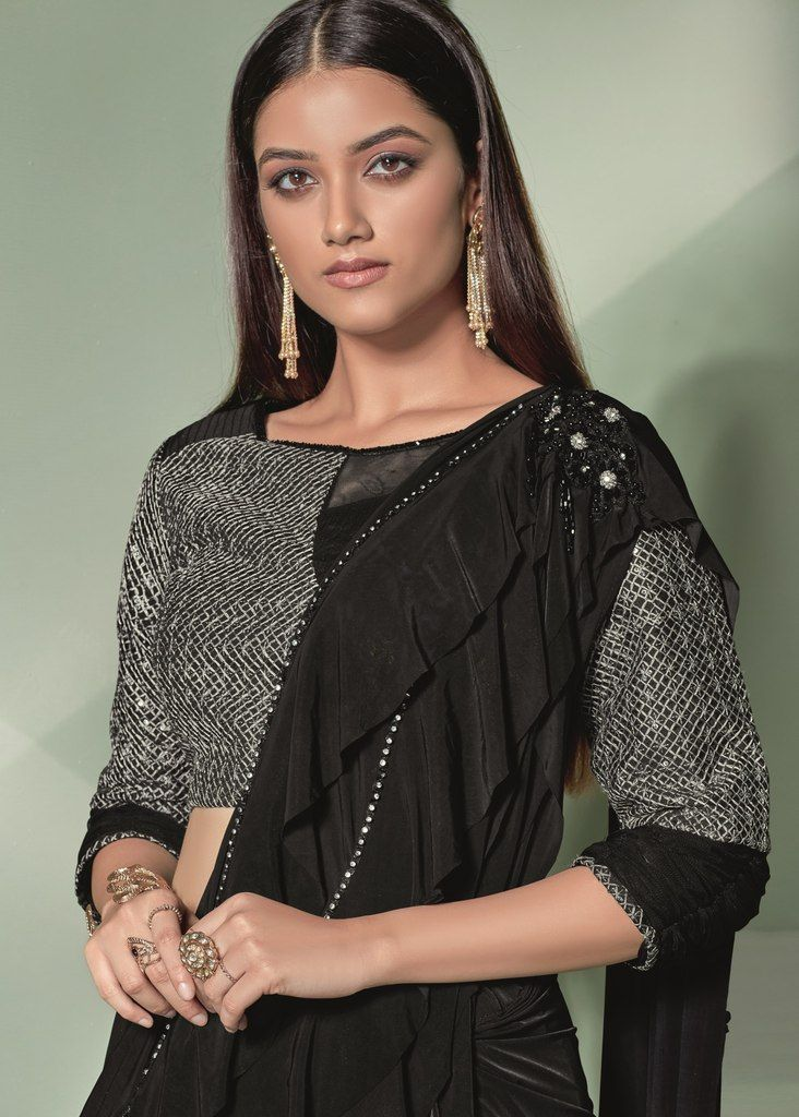 Black Color Lycra Designer Ready To Wear Sarees : Sadhik Collection  NYF-1751 - YellowFashion.in