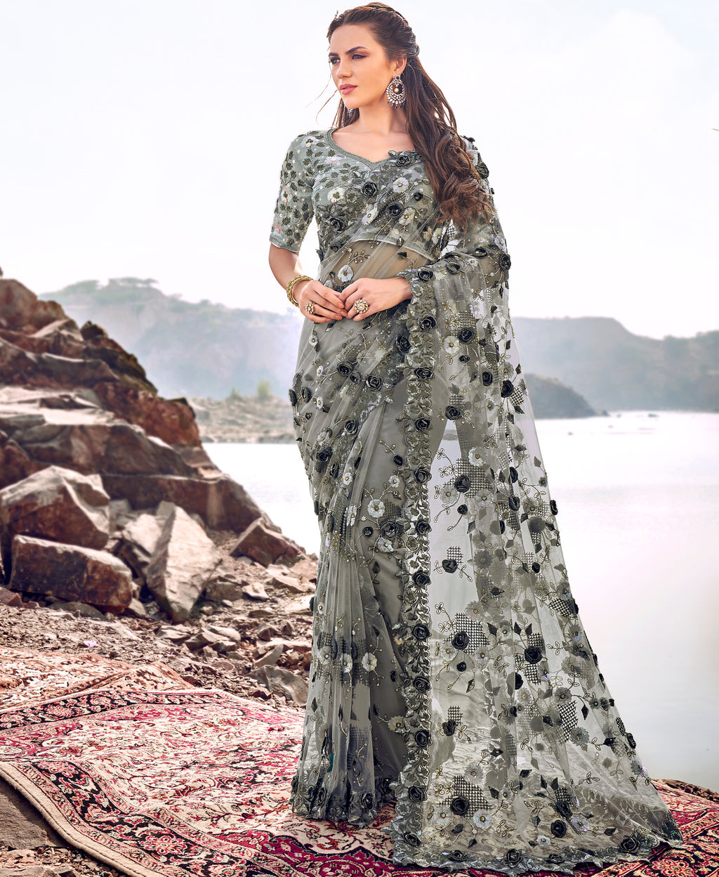 Grey Color Fancy Net Beautiful Designer Sarees NYF-5373