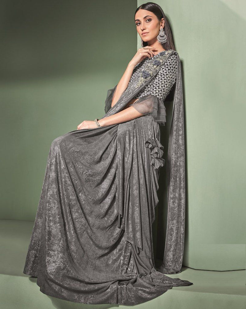 Grey Color Lycra Designer Ready To Wear Sarees : Sadhik Collection  NYF-1752 - YellowFashion.in