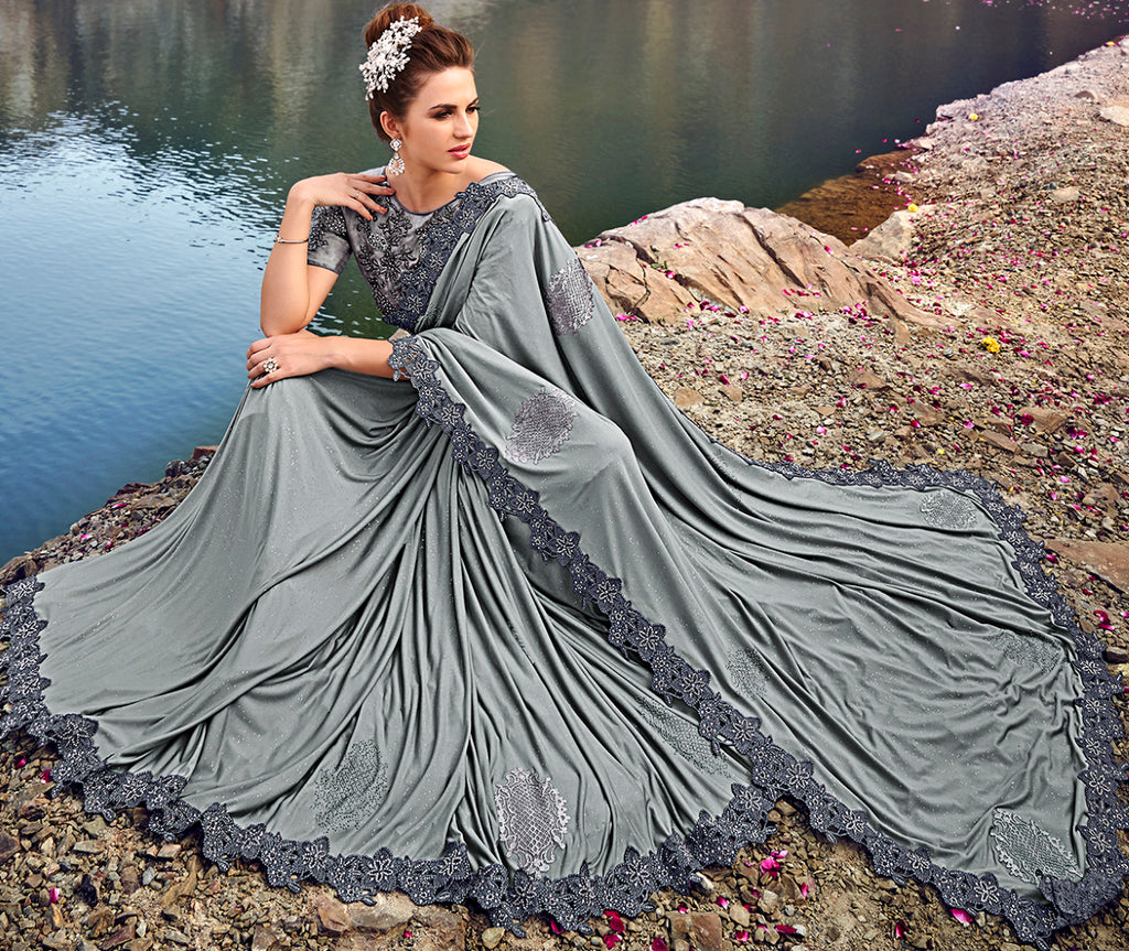 Grey Color Crepe Silk Beautiful Designer Sarees NYF-5374