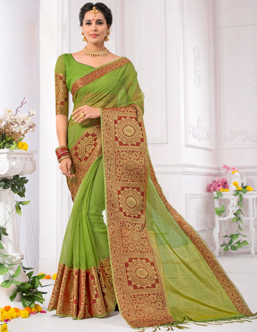 Green Color Kota Checks (Kota Chokhana Cotton) Party Wear Sarees : Vikarsh Collection  YF-58619