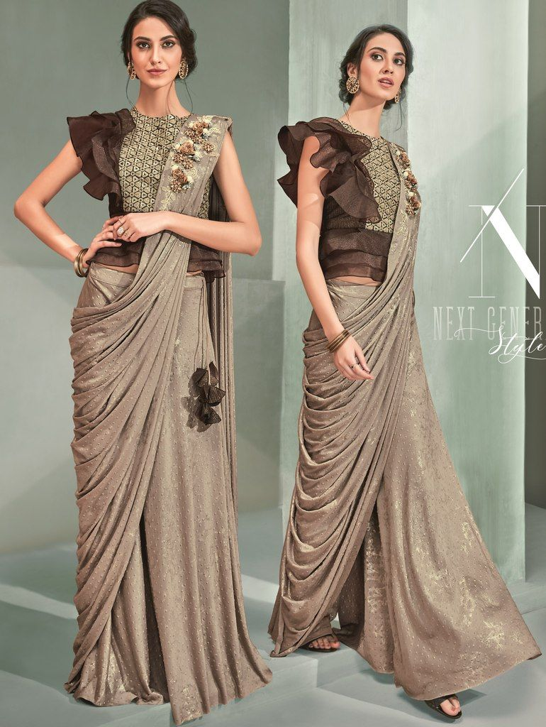 Light Brown Color Lycra Designer Ready To Wear Sarees : Sadhik Collection  NYF-1753 - YellowFashion.in