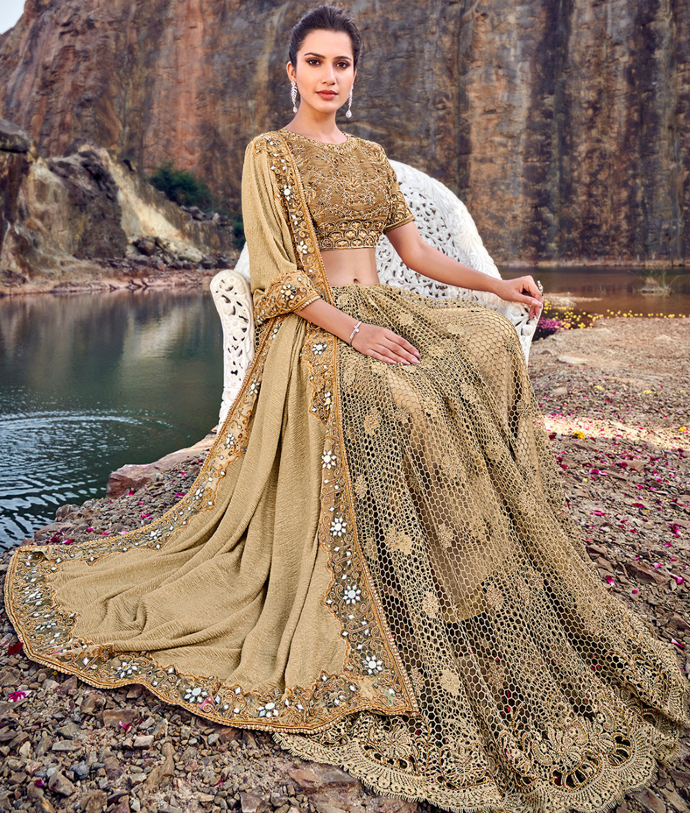 Golden Color Fancy Net Beautiful Designer Sarees NYF-5375