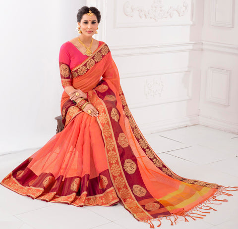Dark Peach Color Kota Checks (Kota Chokhana Cotton) Party Wear Sarees : Vikarsh Collection  YF-58620