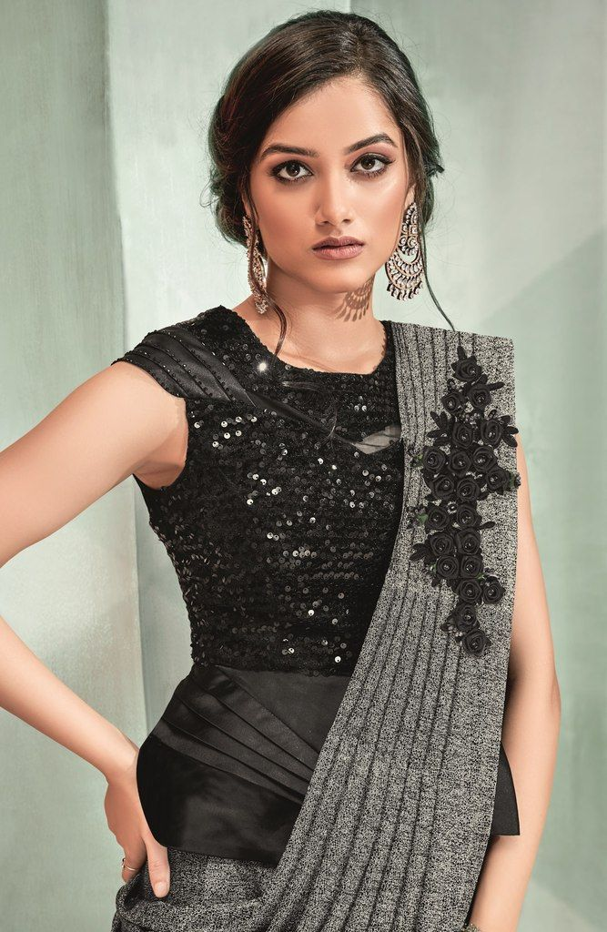 Grey Color Lycra Designer Ready To Wear Sarees : Sadhik Collection  NYF-1754 - YellowFashion.in
