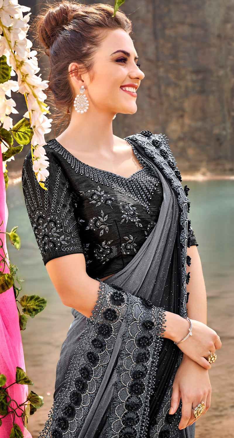Grey & Black Color Crepe Silk Beautiful Designer Sarees NYF-5376