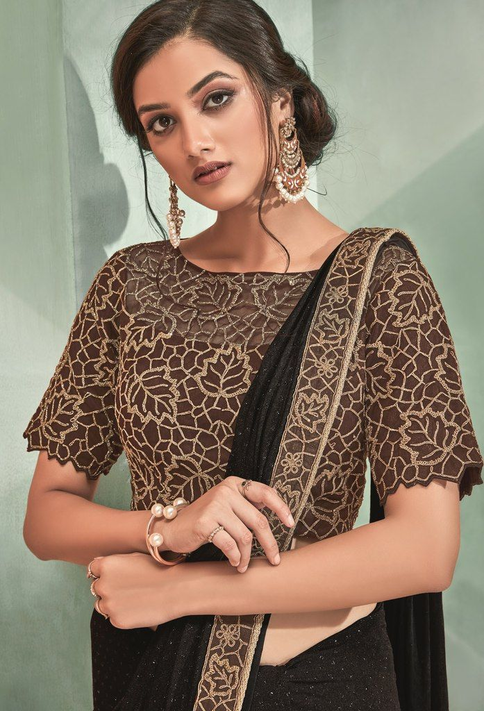 Blackish Brown Color Lycra Designer Ready To Wear Sarees : Sadhik Collection  NYF-1755 - YellowFashion.in