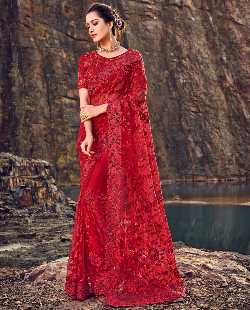 Red Color Fancy Net Beautiful Designer Sarees NYF-5377