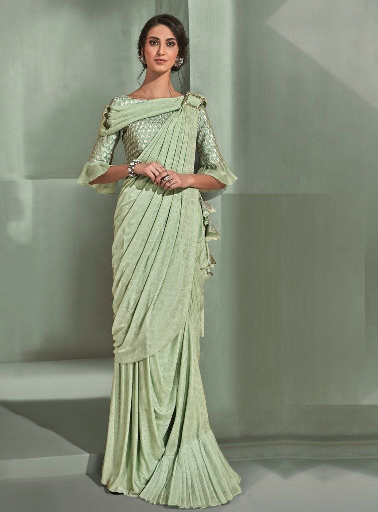 Sea Green Color Lycra Designer Ready To Wear Sarees : Sadhik Collection  NYF-1756 - YellowFashion.in