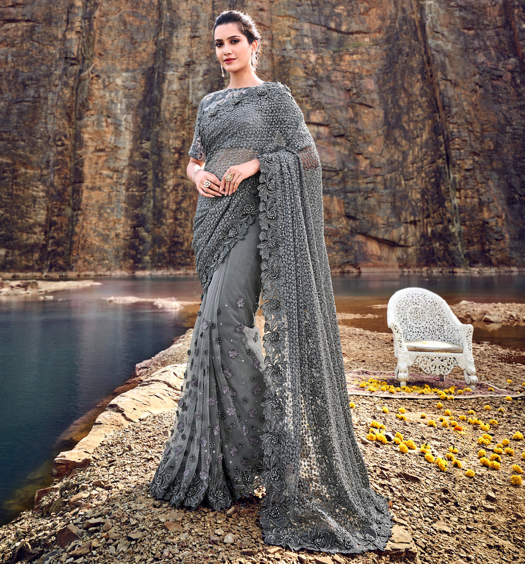 Grey Color Fancy Net Beautiful Designer Sarees NYF-5378