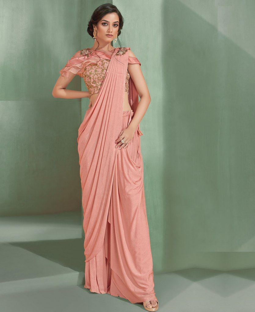 Pink Color Lycra Designer Ready To Wear Sarees : Sadhik Collection  NYF-1757 - YellowFashion.in