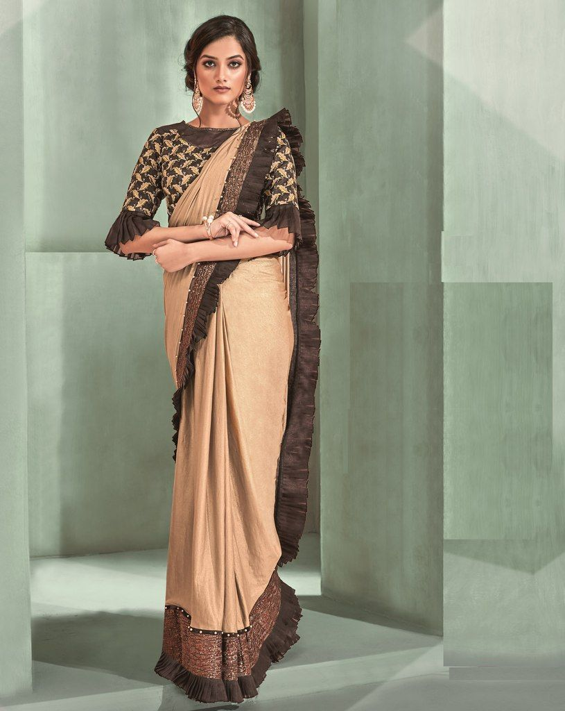 Light Coffee Color Lycra Designer Ready To Wear Sarees : Sadhik Collection  NYF-1758 - YellowFashion.in