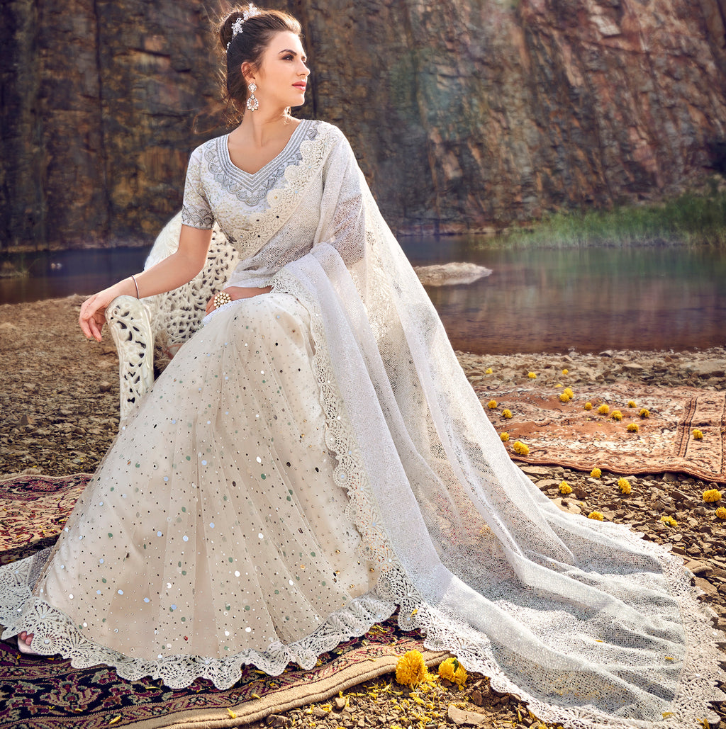 Off White Color Fancy Net Beautiful Designer Sarees NYF-5380