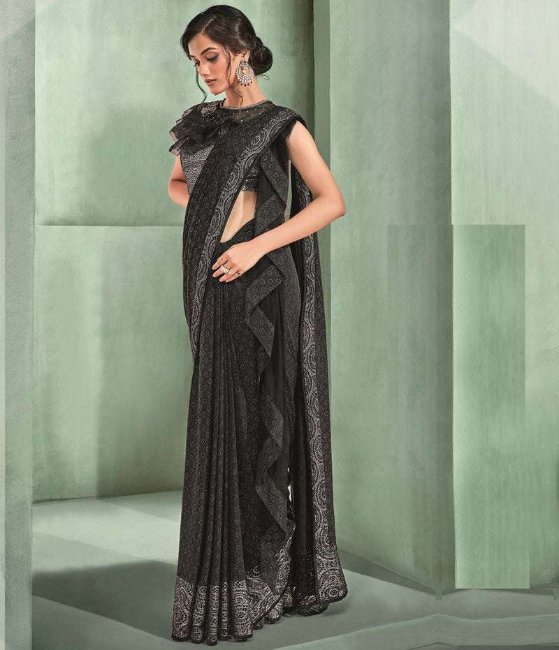 Black Color Lycra Designer Ready To Wear Sarees : Sadhik Collection  NYF-1759 - YellowFashion.in