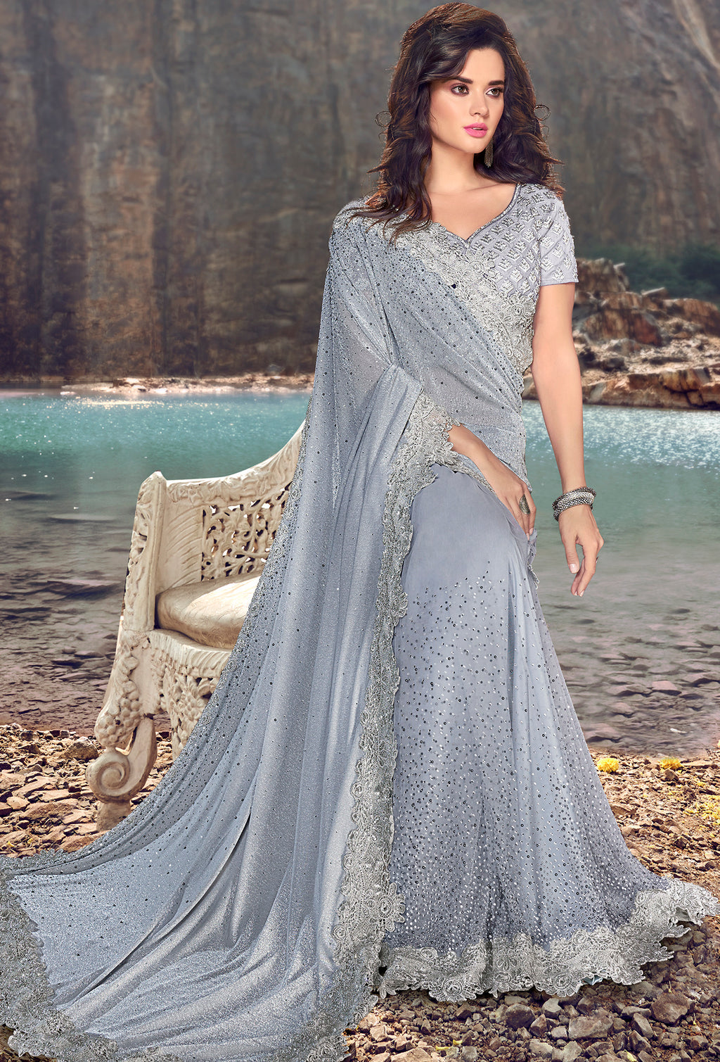 Grey Color Fancy Net Beautiful Designer Sarees NYF-5381