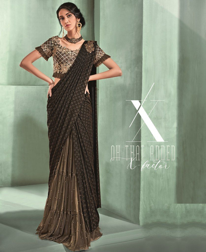 Shades Of Brown Color Lycra Designer Ready To Wear Sarees : Sadhik Collection  NYF-1760 - YellowFashion.in