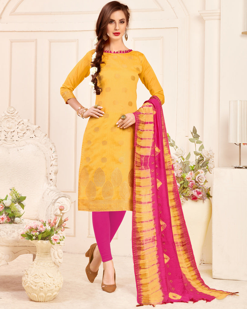Yellow Color Banarasi Jacquard Silk UnStitched Dress Material : Vasuki Collection NYF-2001 - YellowFashion.in