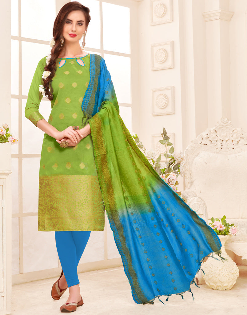 Green Color Banarasi Jacquard Silk UnStitched Dress Material : Vasuki Collection NYF-2002 - YellowFashion.in