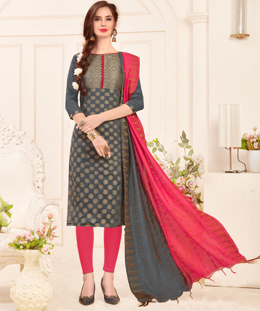 Grey Color Banarasi Jacquard Silk UnStitched Dress Material : Vasuki Collection NYF-2003 - YellowFashion.in