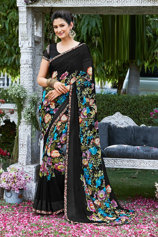 Black Color Georgette  Casual Wear Saree -Ladli Bahu  Collection  YF#11314