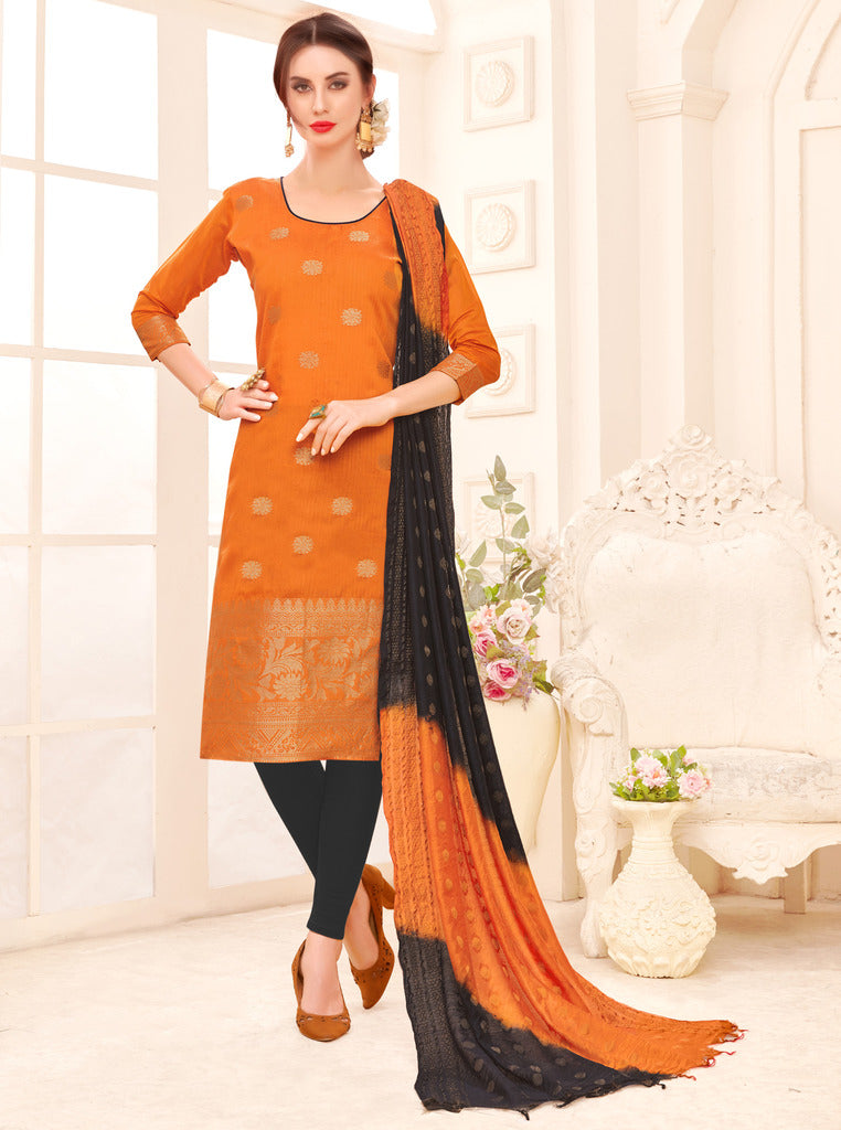 Orange Color Banarasi Jacquard Silk UnStitched Dress Material : Vasuki Collection NYF-2006 - YellowFashion.in