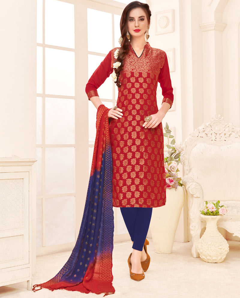 Red Color Banarasi Jacquard Silk UnStitched Dress Material : Vasuki Collection NYF-2007 - YellowFashion.in