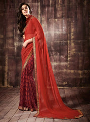 Orange & Brown Color Georgette Party Wear Sarees : Kusum Collection  YF-32810