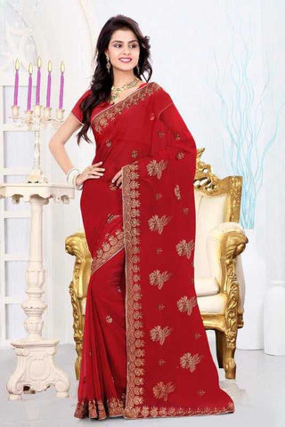 Maroon Color Georgette Designer Sarees : Mireya Collection  YF-22012