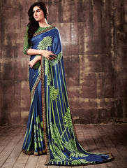 Blue & Green Color Wrinkle Crepe Party Wear Sarees : Kusum Collection  YF-32811