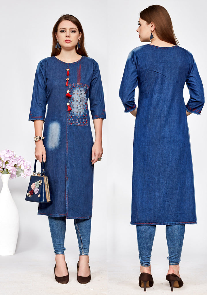 Blue Color Denim Cotton Readymade Party Wear Kurtis ( Sizes - 36,38,40,42,44,46): Navrasi Collection NYF-1958 - YellowFashion.in
