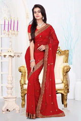 Maroon Color Georgette Designer Sarees : Mireya Collection  YF-22014