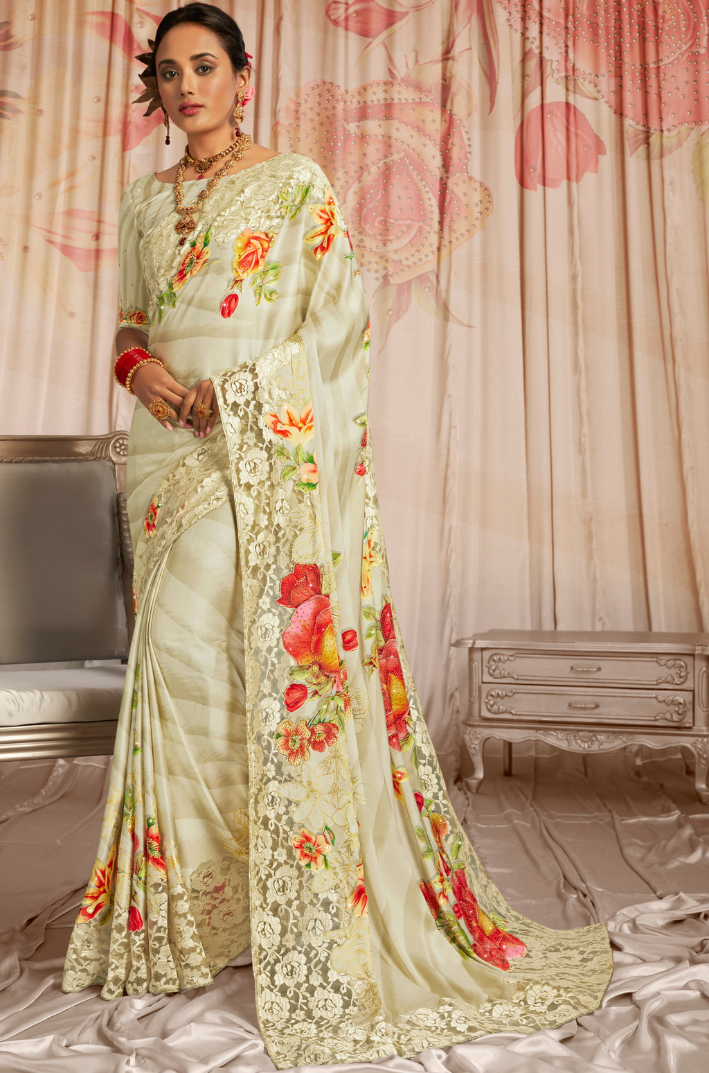 Off White Color Crepe Silk Youthful Designer Sarees NYF-5269