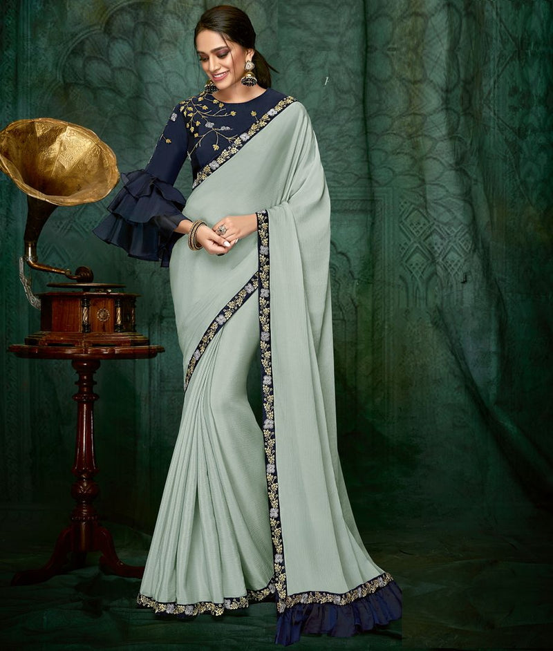 Grey Color Wrinkle Chiffon Designer Party Wear Sarees NYF-3703 - YellowFashion.in