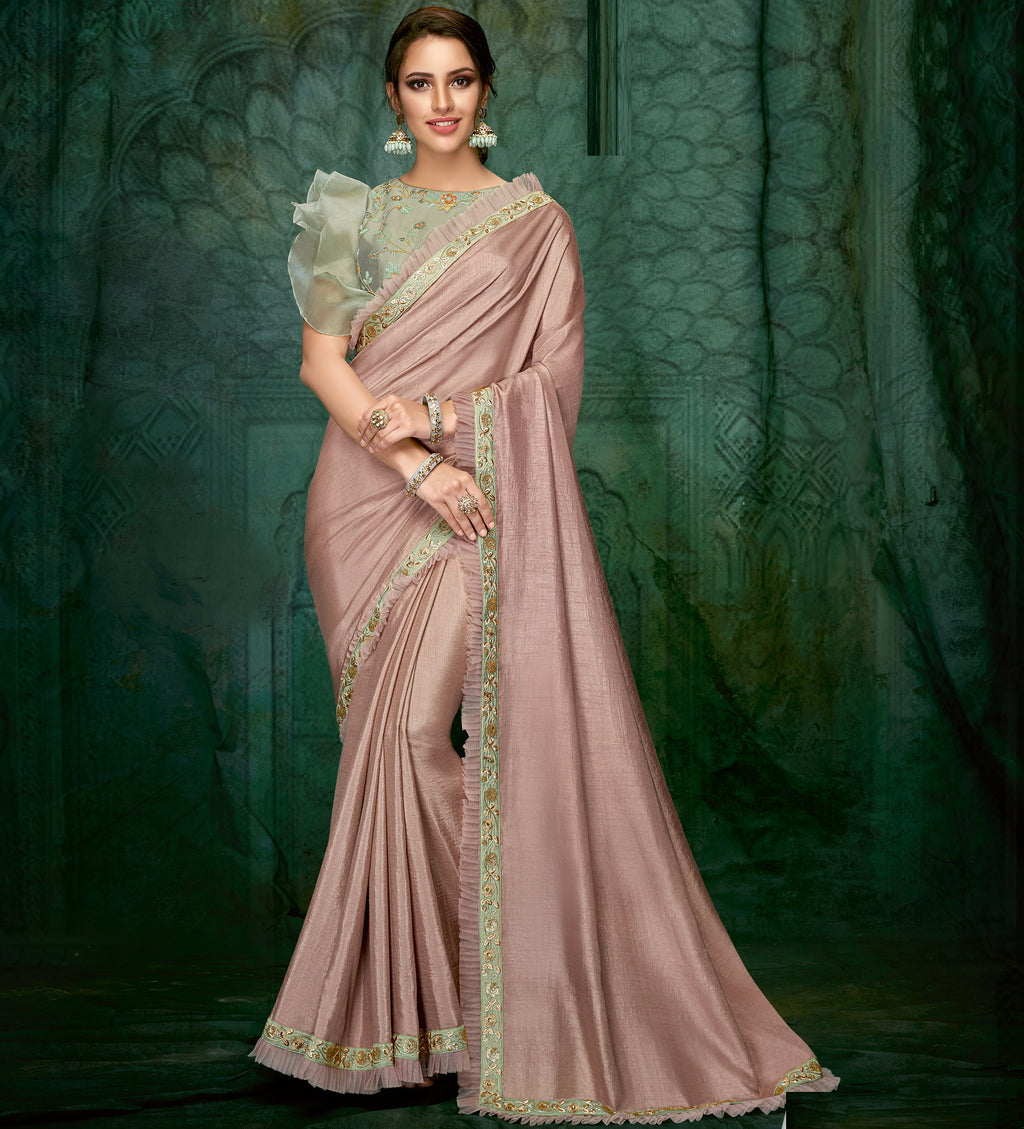 Lavender Color Silk Beautiful Party Wear Sarees NYF-6533