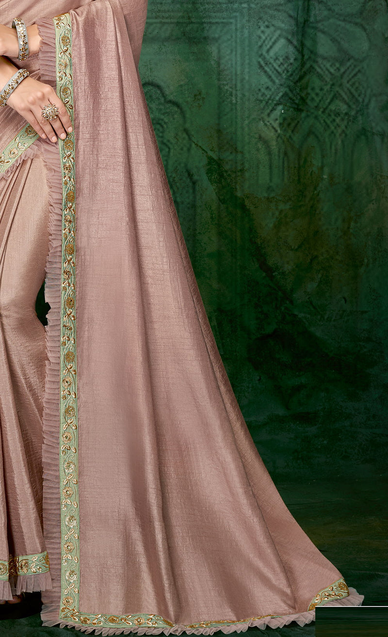 Pink Color Silk Beautiful Party Wear Sarees NYF-6533