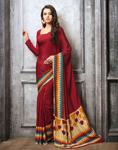 Red Color Crepe Casual Party Sarees : Sanchita Collection  YF-46086