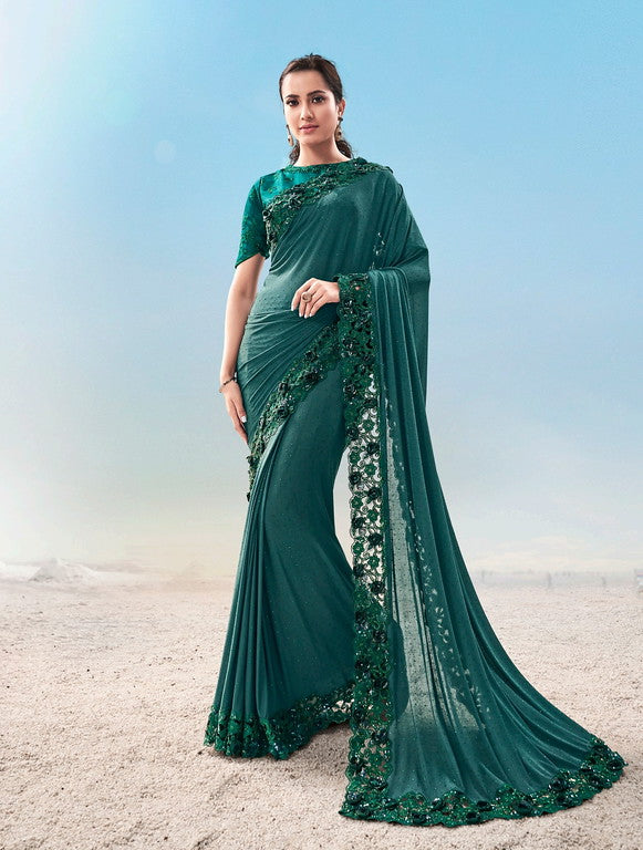 RamaGreen Color Imported Fabric with Jari Thread and Diamond Heavy work  Bridal Wear Saree -Vivah Collection YF#11357