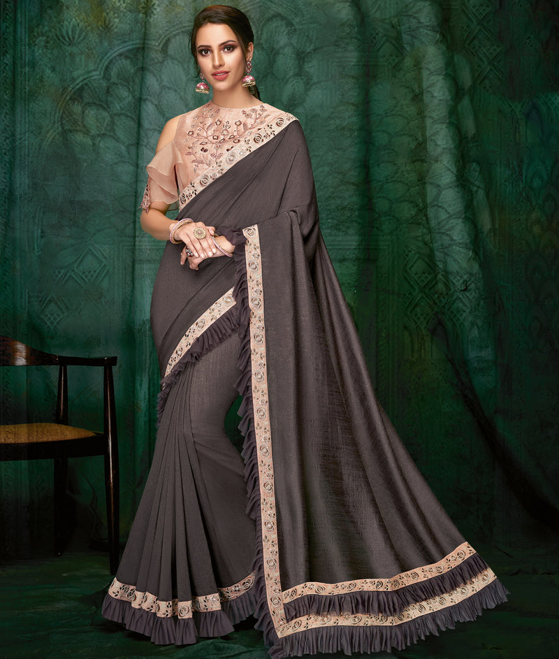 Grey Color Silk Beautiful Party Wear Sarees NYF-6534