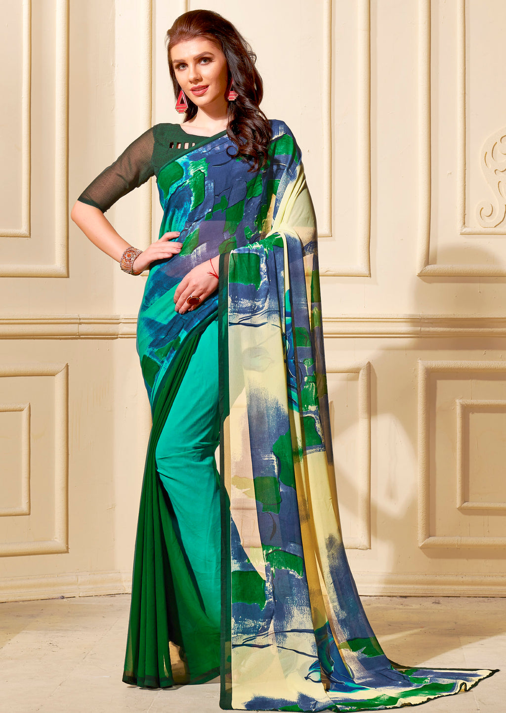 Multi Color Georgette Home Wear Sarees NYF-8755
