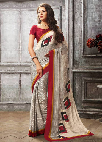 Cream & Red Color Crepe Casual Party Sarees : Sanchita Collection  YF-46088