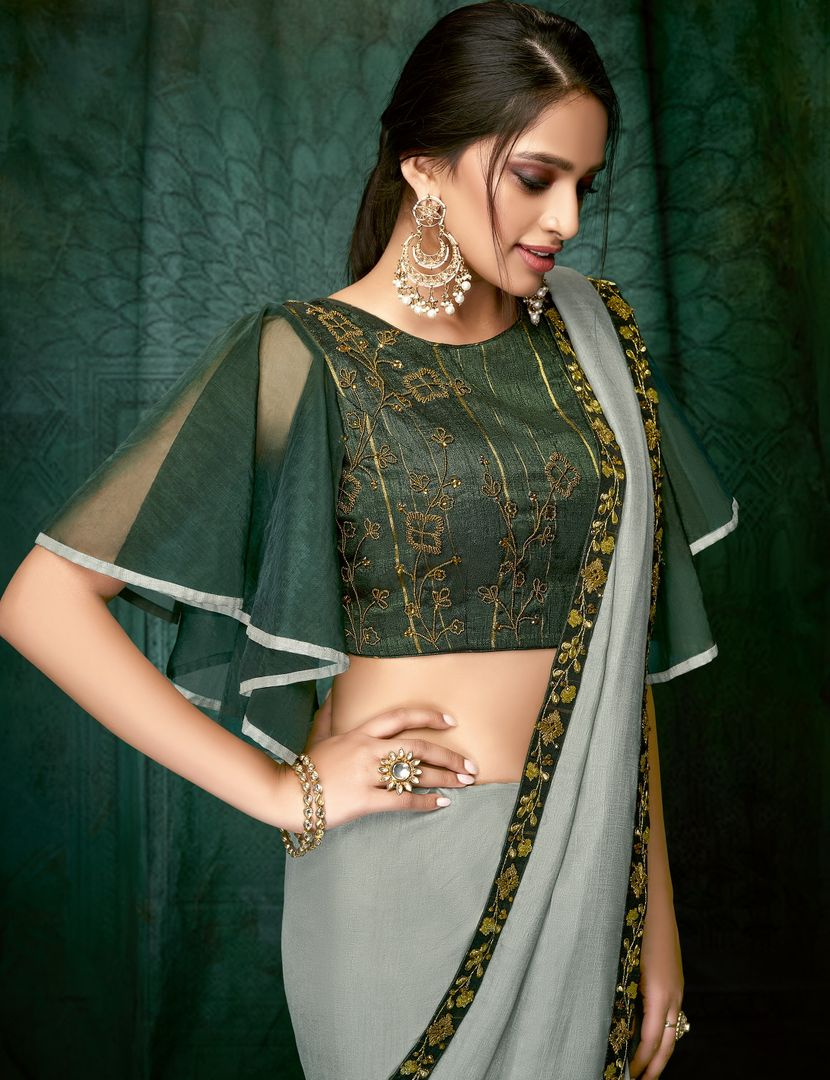 Grey Color Wrinkle Chiffon Designer Party Wear Sarees NYF-3704 - YellowFashion.in