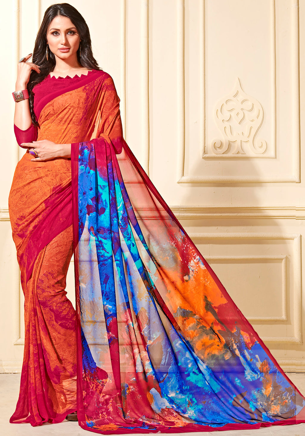 Orange Color Georgette Home Wear Sarees NYF-8756