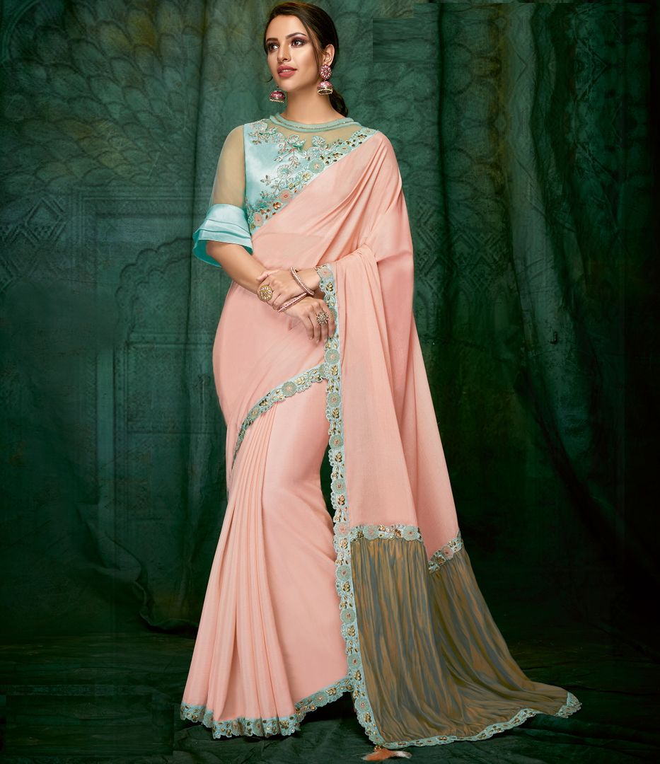 Pink Color Wrinkle Chiffon Designer Party Wear Sarees NYF-3705 - YellowFashion.in