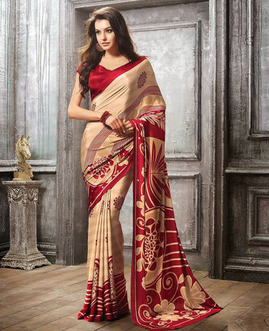 Beige & Red Color Crepe Casual Party Sarees : Sanchita Collection  YF-46092