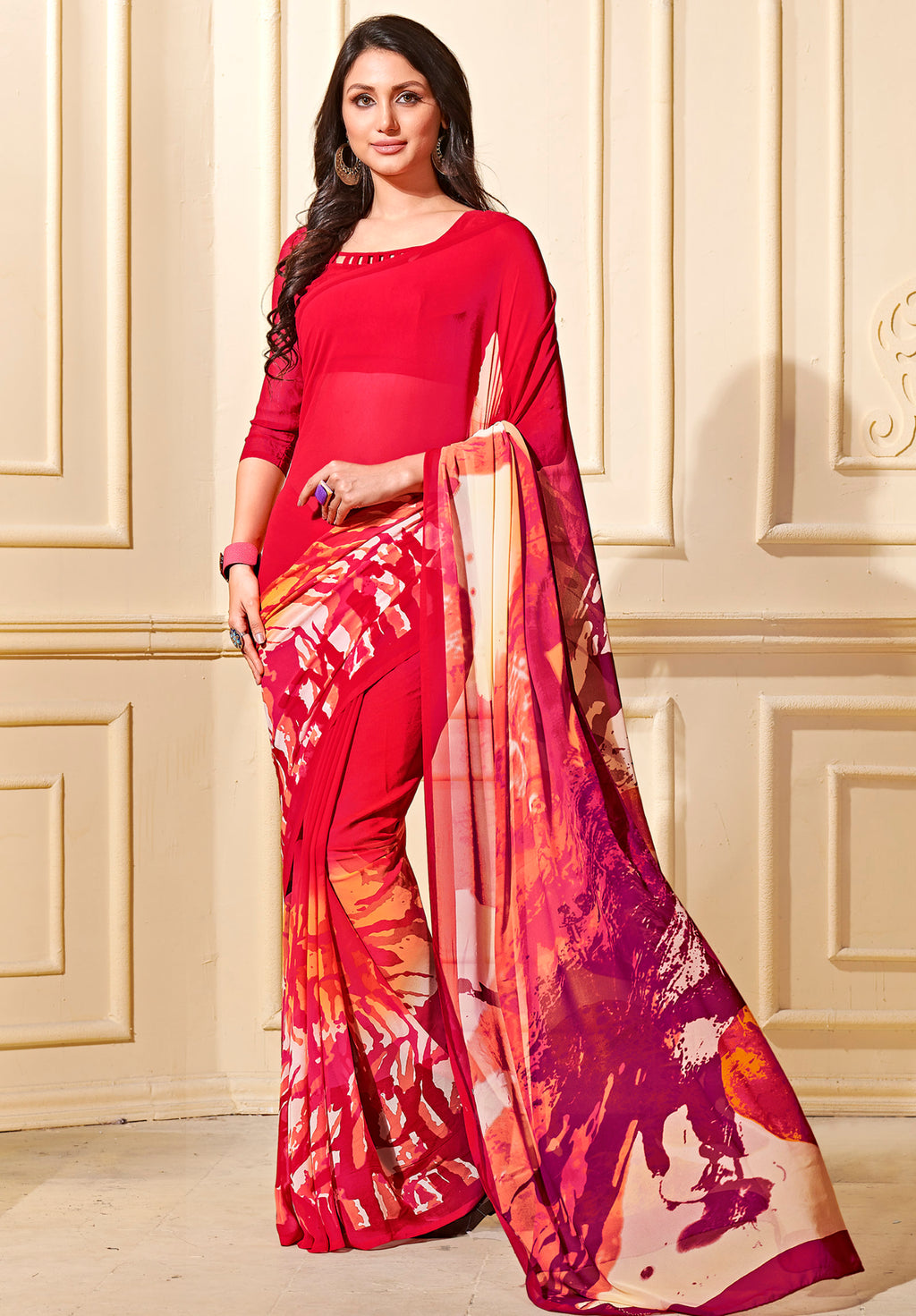 Red Color Georgette Home Wear Sarees NYF-8757