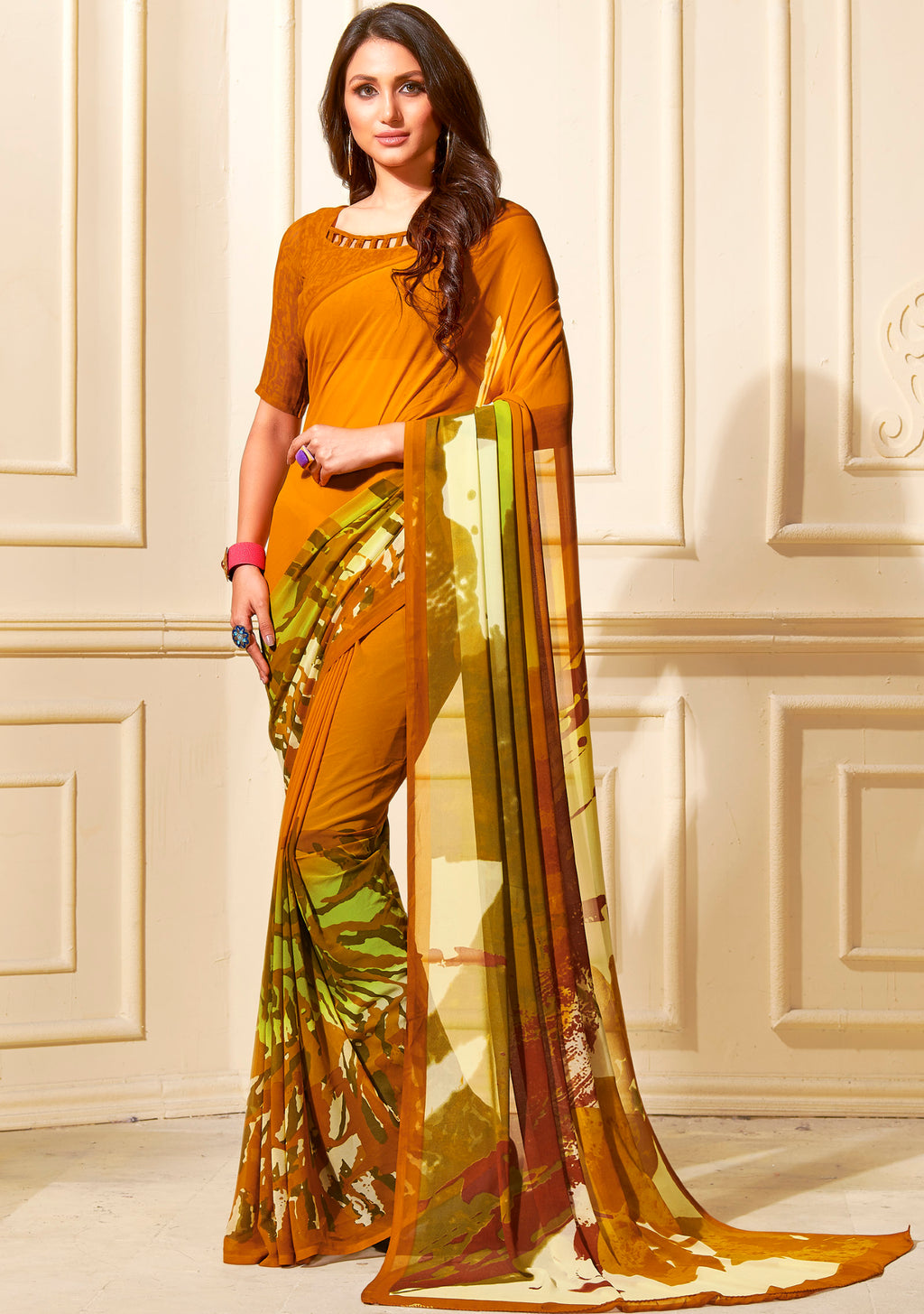 Mustard Yellow Color Georgette Home Wear Sarees NYF-8758