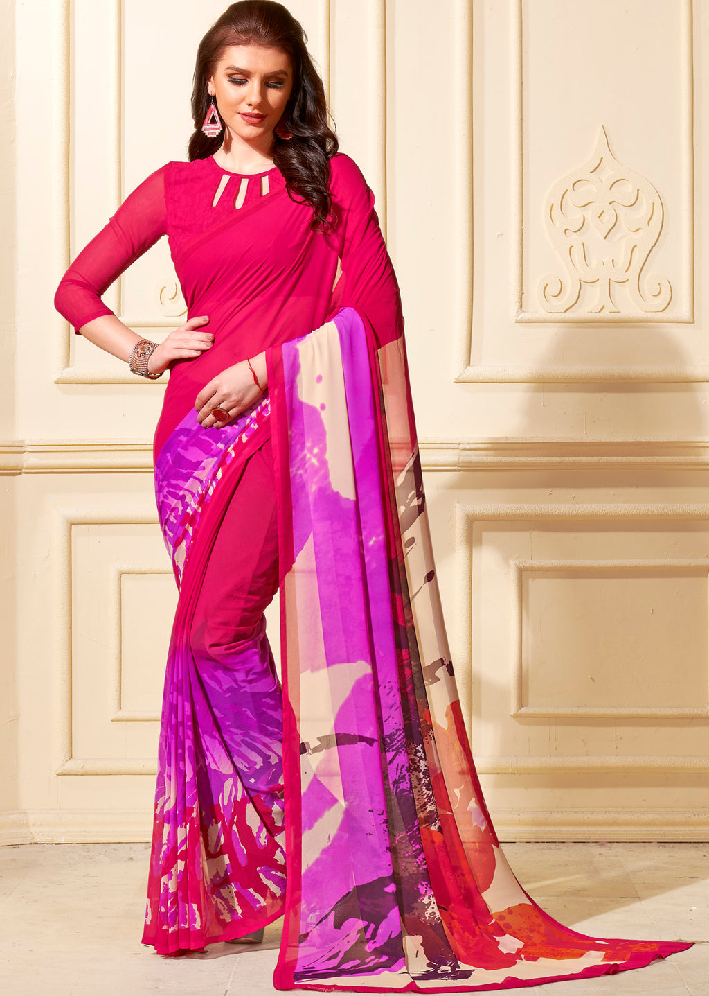 Pink Color Georgette Home Wear Sarees NYF-8759