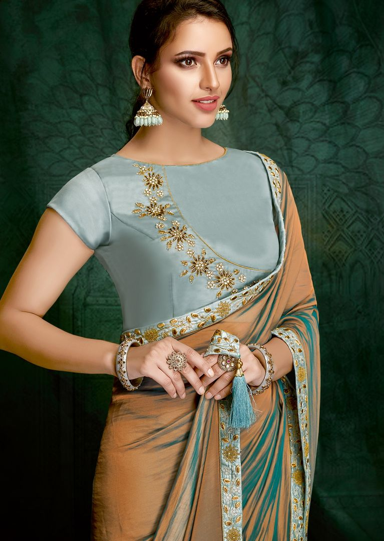 Brown Color Lycra Designer Party Wear Sarees NYF-3707 - YellowFashion.in